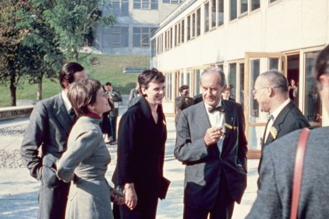 Inge Aicher-Scholl, Walter Gropius and Max Bill on the opening day