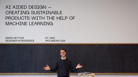 Simon Hettler, Designer in Residence im HfG-Archiv 2020. Foto: HfG-Archv
