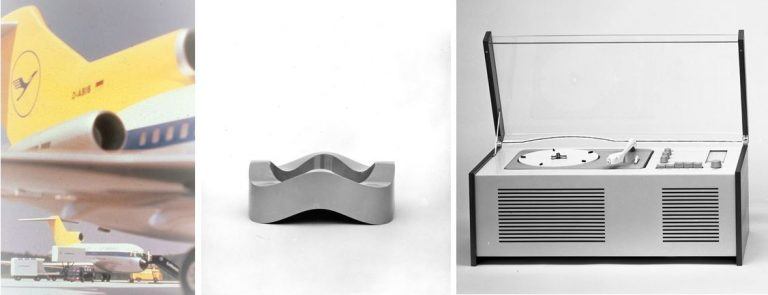 Designs by HfG lecturers: Appearance for Deutsche Lufthansa, Design: Otl Aicher, 1962. Sign. HfG-Ar Sti D 2.1566, Photo © HfG-Archiv. Stacking ashtray for the company Helit, Design: Walter Zeischegg, 1967, Sign. HfG-Ar Sti F 60/0087, Photo: Wolfgang Siol, © HfG-Archiv. All rights reserved