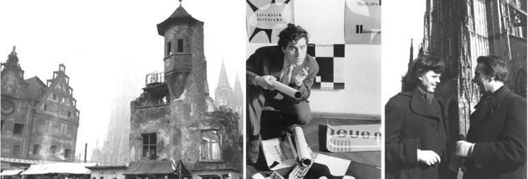 The destroyed city of Ulm, Otl Aicher with his poster designs, Inge Scholl and Hans Werner Richter in front of the Ulmer Münster, 1959. Sign: HfG-Ar Ros 752.012, Ros 750.014, Ros 756, 023. Photos: Ike und Hannes Rosenberg © HfG-Archiv Ulm. All rights reserved